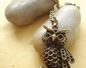 Owl Necklace - Antiqued Bronze  NC119