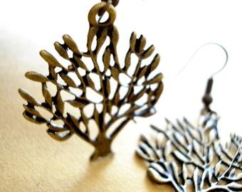 TREE Earrings - Antiqued Bronze DE32
