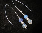 violet opal&frosted silver earrings