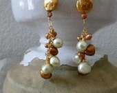 Gold and Light Green Freshwater Pearl Earrings