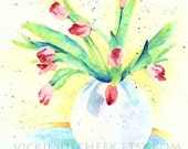 Pink Tulips Bouquet in Vase Watercolor Painting, 8x10 PRINT by Vickie Sue Cheek