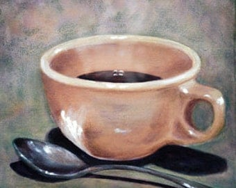 Coffee Cup & Spoon Acrylic Painting, 8x8 Art Print of 'Good Morning Sunshine' Still Life by Vickie Sue Cheek