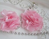 2 PALE PINK Satin Flowers- Attach to Shoes-Hair Accessories-Bags-Purses etc..