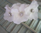 "3 White Flowers 2 1/2"" in each with Rhinestones on Silver Metal Headband- Fits Toddlers to Adults"