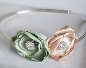"""SAGE GREEN and CHAMPAGNE Satin Flowers 3"""" on Silver Metal Headband- Wear alone or Clip to Headband"""