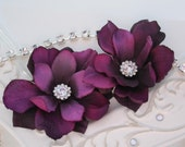 "RESERVED - 12  Purple Flower Clips 3"" with Rhinestone Centers"