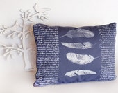 Blue Decorative pillow with Feathers