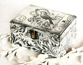 Black and White  Wooden  Decorative  Box,  Ring Bearer Box  5.1/2 x 4 x 3 inch - MyHouseOfDreams