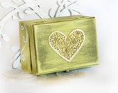 Vintage Wooden Distressed Box with Heart,Treasury  Box ,  Jewelry box , Boxes  5.1/2 x 4 x 3 inch