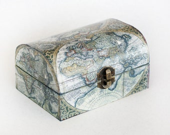 Decoupage Jewelry Box Wooden Memory box Jewelry Organizer Jewelry Storage Jewelry Holder Decorative Box Keepsake box Treasury Chest