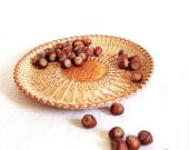 Handwoven basket Harvest table centerpiece Wicker plate Rustic table decor Eco gift Light straw color Cupcake serving plate
