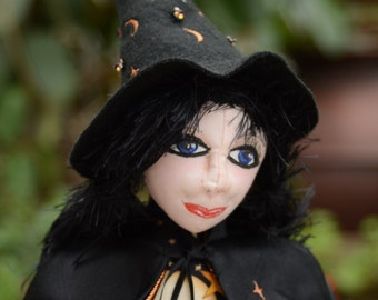 Halloween Witch Beaded Art Doll, OOAK Handmade