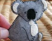 Animal brooch felt koala pin