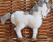 White horse felt brooch