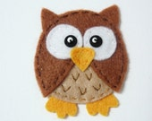 1pc - Brown Owlet Felt Applique - 55x45mm - made to order