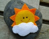 1pc Sun with Cloud Felt Applique 57 x 55mm