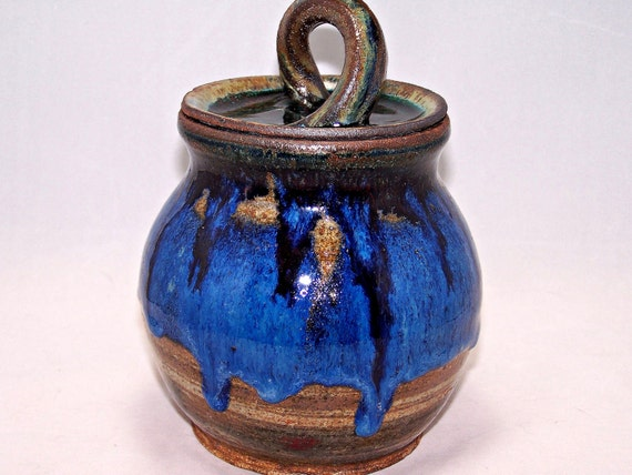 Ceramic Jar Lidded, Marbled Chocolate and Blue Against Jupiter's Moons with Comet Trail