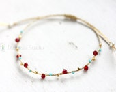 Gold Thread Bracelet : Siamese red and Turqouise blue
