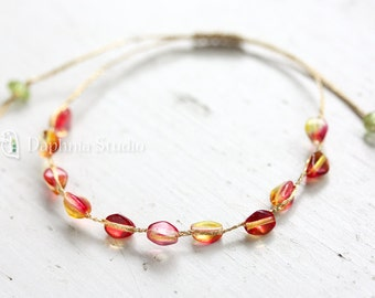 Gold Thread Bracelet : Fuchsia red and Lemon yellow
