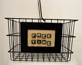 """Labeled """"Free Time"""" Wire Basket With Handle"""