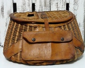 Vintage Fishing Creel - Wicker and Leather
