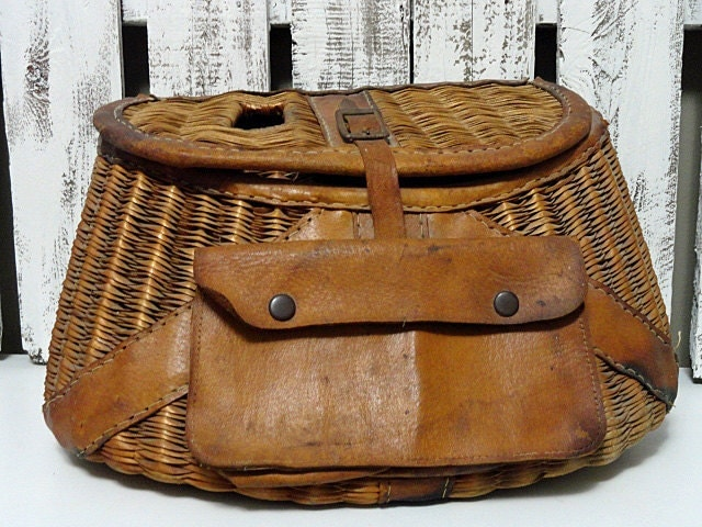 Vintage fishing creel wicker and leather by rusticattic on for Fly fishing creel
