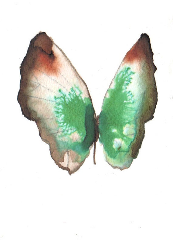 """Pale brown and emerald green butterfly with rust red markings 7"""" x 5"""""""