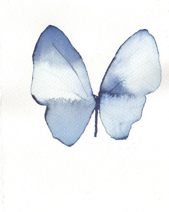 delicate pale blue butterfly original watercolour and ink painting
