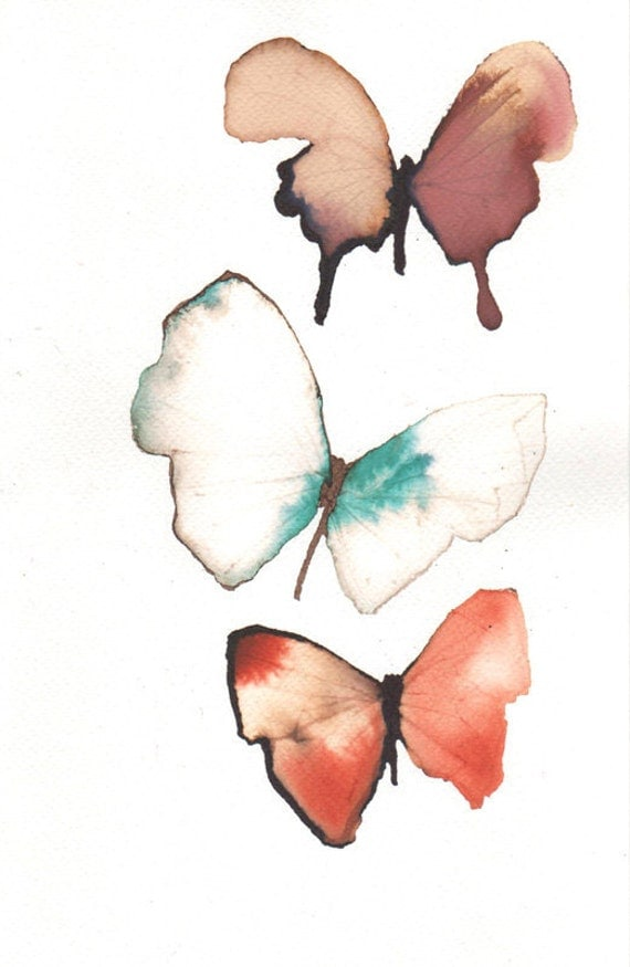 butterfly trio orange, turquoise green, white, brown and gold. original painting