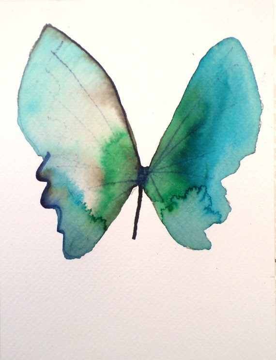 """turquoise blue and green butterfly with white wing 5x7"""""""