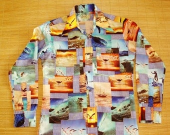 Mens Vintage 70s Photo Print Surf Surfer Hawaiian LS Shirt - S - The Hana Shirt Co