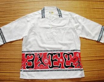 Mens Vintage Mod 60s HoAloha 3/4 Sleeves Tiki Hawaiian Shirt - XL - The Hana Shirt Co
