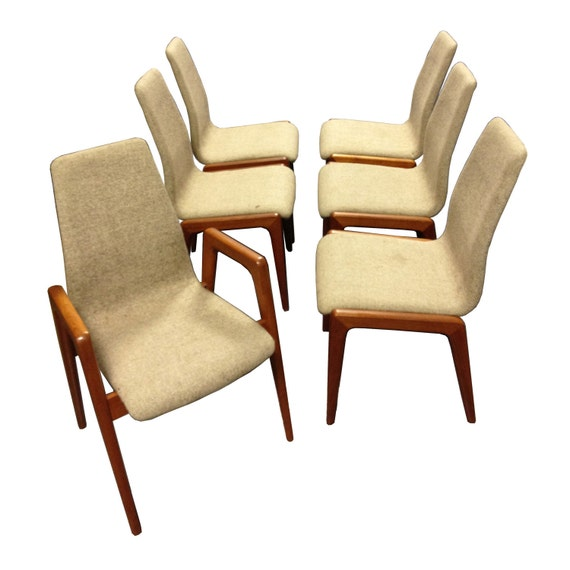 On Reserve for Doug - Vintage Danish Teak Dining Chairs (set of six) Mid Century Modern Eames era