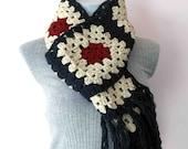 Extra long     crochet granny square scarf