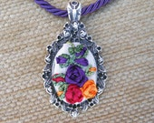 Ribbon Embroidered Pendant Necklace Free shipping