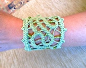 Light Green  Romanian Point Lace   Cuff   with beads. Ooak,  Free shipping.