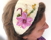 Crochet hair band with Ribbon embroidery