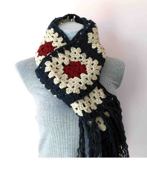 Extra long     crochet granny square scarf
