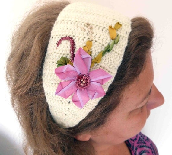 Crochet hair band with Ribbon embroidery by Pamphylian on Etsy