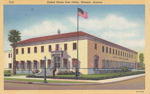 United States Post Office, Phoenix, Arizona - Vintage Linen Postcard - Unused