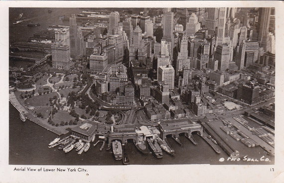 Aerial View of Lower New York City - Vintage Real Photograph Postcard - Unused