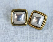 Vintage Mexican Earrings Laton Square Sterling Silver and Brass Posts