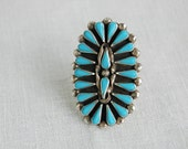 Vintage Southwestern Sterling Silver and Faux Turquoise Bold Navajo Style Ring