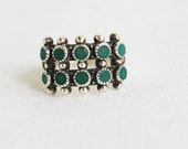 Vintage Zuni Ring Petit Point Green Turquoise Double Band