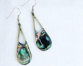 Vintage Mexican Earrings Inlaid Abalone and Alpaca Oval Dangle Drops