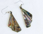 Vintage Mexican Earrings Inlaid Abalone and Alpaca Fans