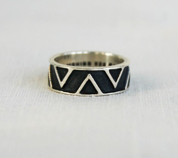 Vintage Mexican Sterling Ring Band Geometric Tribal Design