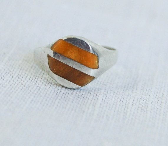 Vintage Ring Mexican Tigers Eye Geometric Design