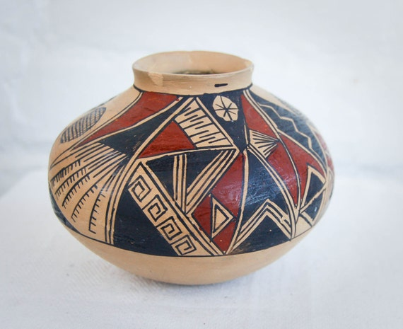 Vintage Native American Pottery Hand Painted Bud Vase Southwestern Tribal Motif