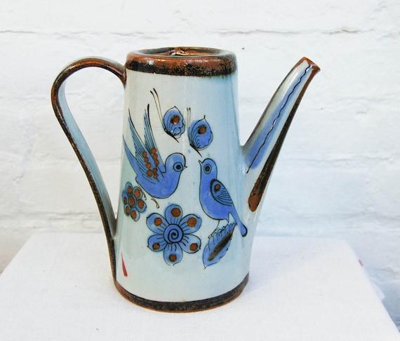 Vintage El Palomar Mexican Tonala Pottery Tea Kettle Ceramic Puebla